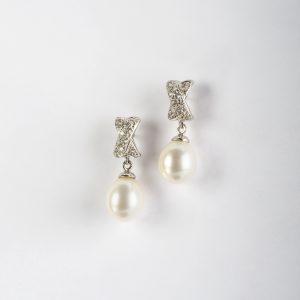 Fabricante de joyería, pendientes OB Circonita Perla, ref. 10027.2