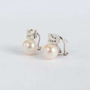 Joyería, pendientes OB Brillante 0.19 perla 9½-10, ref. 10764.2