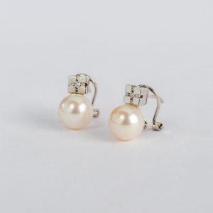 Joyería Soto Navarro, pendientes OB Brillante 0.16 perla, ref. 10773.2
