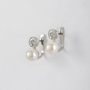 Fabricante en Córdoba de joyería, pendientes OB Brillante 0.08 perla 7-7½, ref. 11666.2
