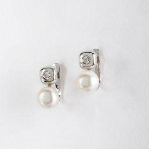 Fabricante de joyería en Córdoba, pendientes OB Brillante 0.10 perla 7-7½, ref, 11669.2