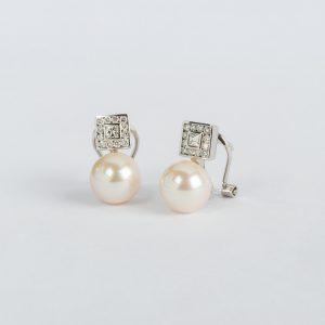 Joyería, pendientes OB Brillante 0.40 CT perla 9-9½, ref. 12035.2
