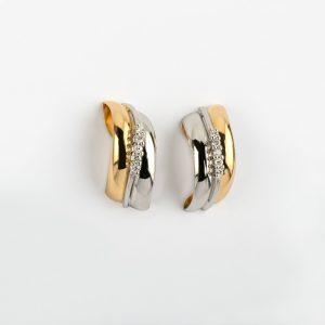Fabricante de joyería, pendientes oro bicolor brillante 0.19, ref. 12318.2