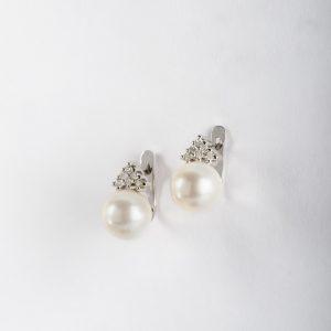 Joyería en Córdoba, pendientes OB Brillante 0.14 perla 8-8½, ref. 12395.2
