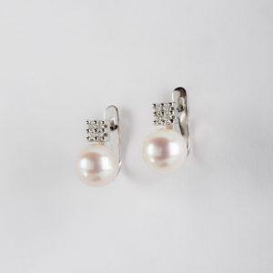 Fabricante de joyería en Córdoba, pendientes OB Brillante 0.10 perla 7-7½, ref. 12455.2