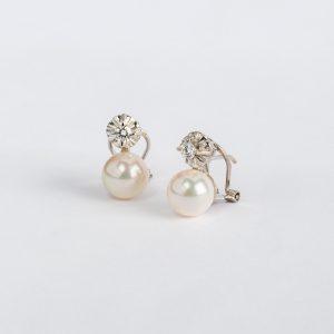 Joyería en Córdoba, pendientes OB Brillante 0.31 perla 8½-9, ref. 19192.2