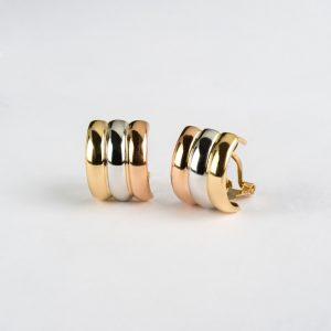 Fabricante en Córdoba de joyería, pendientes oro tricolor, ref. 71192.4