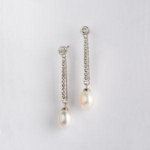 Fabricante de joyería, pendientes OB Brillante 0.32 perla 10X8, ref. 86532.2